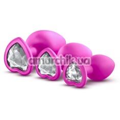 Набор анальных пробок с прозрачными кристаллами в виде сердечек Luxe Bling Plugs Trainer Kit, розовый - Фото №1