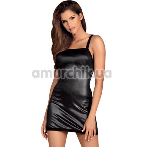 Комплект Obsessive Leatheria черный: платье + трусики-стринги