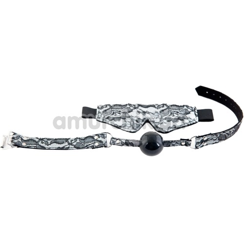 Бондажный набор: кляп + маска для глаз Marcus, серебряный - Фото №1