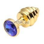 Анальная пробка с синим кристаллом, 7.5 см ребристая золотая