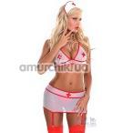 Костюм медсестры Sharon белый: бюстгальтер + мини-юбка с подвязками+ чепчик - Фото №1