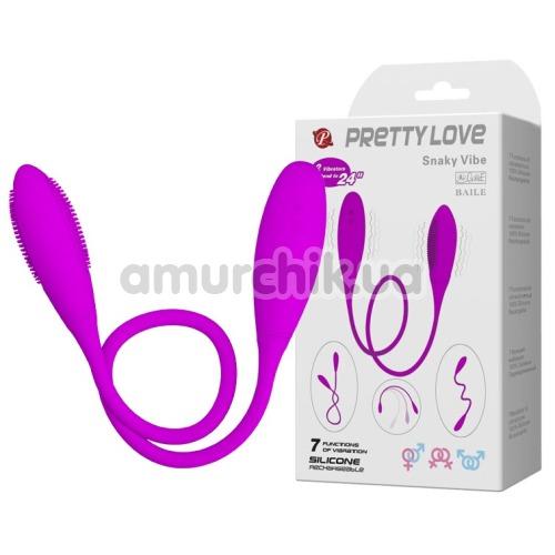 Двуконечный вибратор Pretty Love Snaky Vibe с шипами, фиолетовый