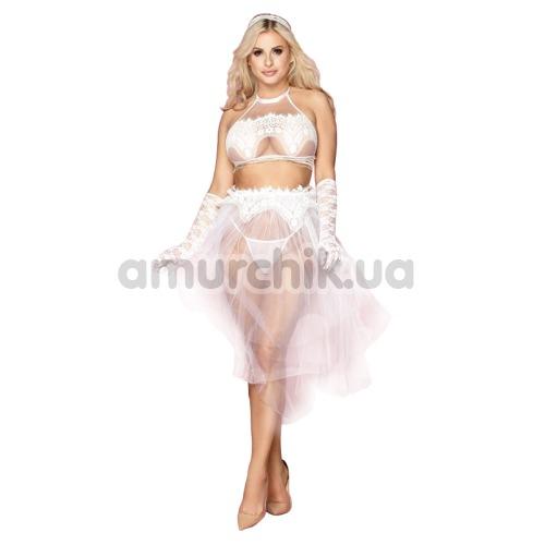 Костюм невесты JSY Sexy Lingerie белый: топ + юбка + фата + перчатки - Фото №1