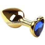 Анальная пробка с синим кристаллом SWAROVSKI Gold Heart Sapphire, золотая - Фото №1