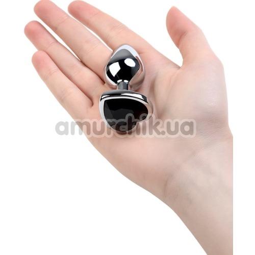 Анальная пробка с черным кристаллом Toyfa Metal Heart 717013-5, серебряная