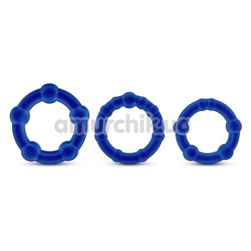 Набор эрекционных колец Stay Hard Beaded Cockrings, синий
