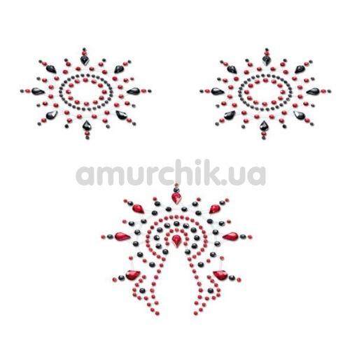 Украшения для сосков и паха Petits Joujoux Gloria, черно-красные - Фото №1