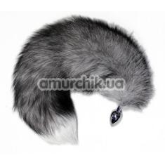 Анальная пробка с серым хвостом Grey Kitten, серебряная