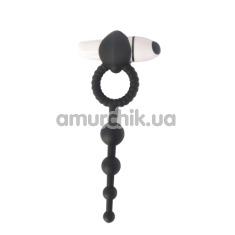 Виброкольцо с анальной стимуляцией Play Candi Blow Pop, черное - Фото №1