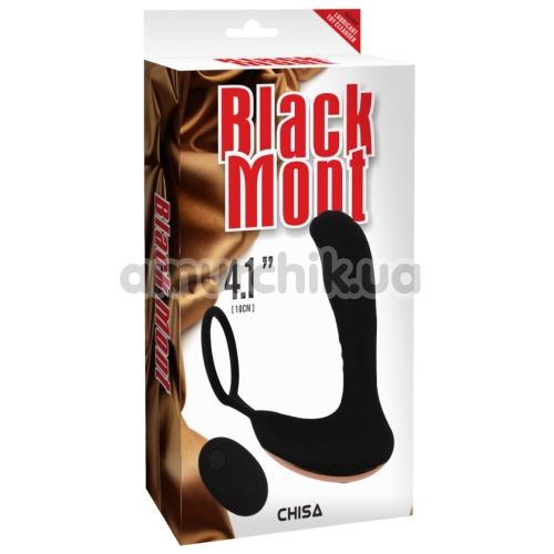 Вибростимулятор простаты с эрекционным кольцом Black Mont 4.1, черный