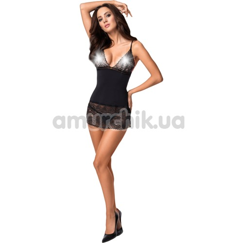 Комплект Obsessive Ailay черный: пеньюар + трусики-стринги
