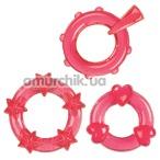 Набор эрекционных колец Magic C-rings красный, 3 шт - Фото №1