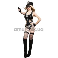 Костюм полицейской JSY Police 9712 чёрный: боди + пояс + чулки + подвязка + перчатки + очки + пистолет + головной убор - Фото №1