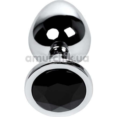 Анальная пробка с черным кристаллом Toyfa Metal 717011-5, серебряная