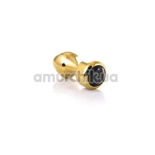 Анальная пробка с черным кристаллом Toyfa Metal 717033-5, золотая