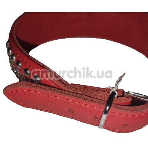 Ошейник DS Fetish Leather Rivet & Crystal, красный
