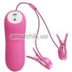 Зажимы для сосков с вибрацией и электростимуляцией Romantic Wave, розовые - Фото №1
