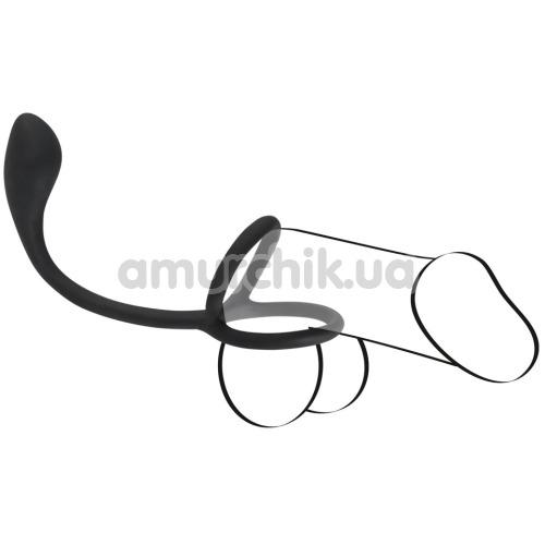 Эрекционное кольцо с анальной пробкой Black Velvets Cock & Ball Ring + Plug, чёрное
