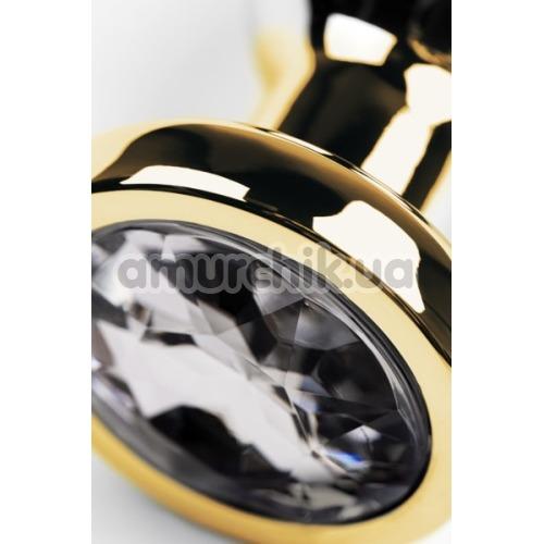 Анальная пробка с прозрачным кристаллом Toyfa Metal 717052-10, золотая