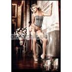 Комплект Charcoal Grey Lace Garter Corsage серый: корсет + трусики-стринги (модель B1130)