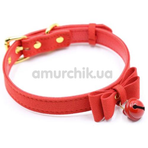 Ошейник Loveshop Bow and Bell, красный