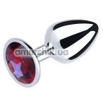 Анальная пробка с красным кристаллом SWAROVSKI Silver Ruby Big, серебряная - Фото №1