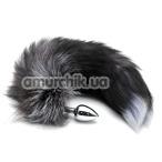 Анальная пробка с черно-голубым хвостом Horny Kitten, серебряная