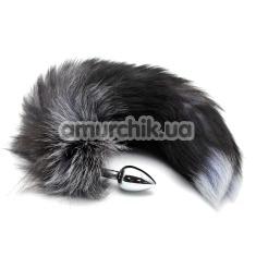 Анальная пробка с черно-голубым хвостом Horny Kitten, серебряная - Фото №1