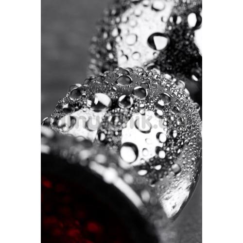 Анальная пробка с красным кристаллом Toyfa Metal 717043-9, серебряная