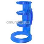Насадка на пенис с вибрацией Get Lock Vibrating Cock Cage, синяя - Фото №1