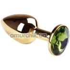 Анальная пробка с зеленым кристаллом SWAROVSKI Gold Chrysolite Small, золотая - Фото №1