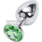 Анальная пробка с зеленым кристаллом, 7.5 см гладкая серебряная