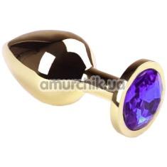Анальная пробка с фиолетовым кристаллом SWAROVSKI Gold Purple Middle, золотая - Фото №1