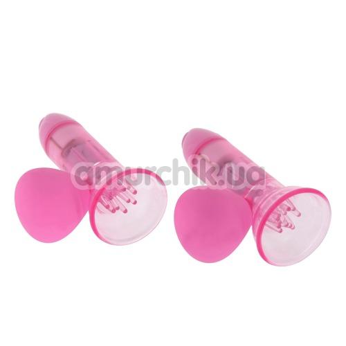 Вакуумные стимуляторы для сосков с вибрацией Vibrating Nipple Pump, розовые - Фото №1