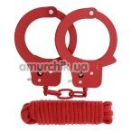 Бондажный набор BondX Metal Handcuffs & Love Rope, красный - Фото №1