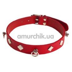 Ошейник с тремя колечками sLash SUB leather Choker, красный - Фото №1