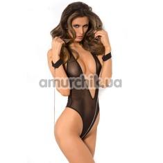 Комплект Mesh Teddy & Cuff Set черный: боди + наручники - Фото №1
