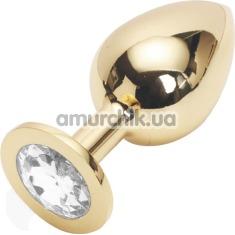 Анальная пробка с прозрачным кристаллом SWAROVSKI Steel Jewel Plug, золотая - Фото №1