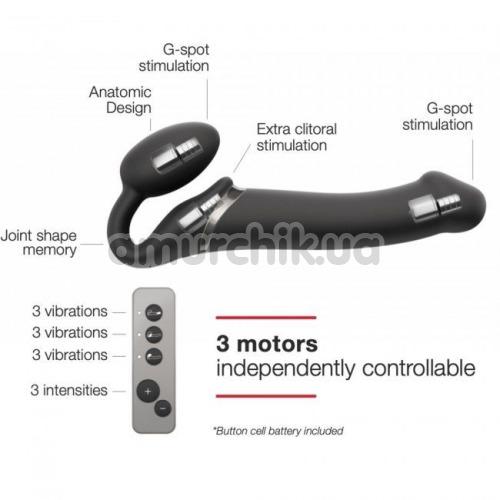 Безремневой страпон с вибрацией Strap-On-Me Vibrating Bendable Strap-On M, черный
