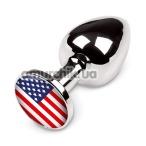 Анальная пробка с американским флагом Пикантные Штучки Small, серебряная