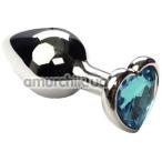 Анальная пробка с голубым кристаллом SWAROVSKI Silver Heart Topaz, серебряная