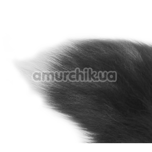 Анальная пробка с черно-голубым хвостом Horny Kitten, черная