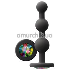Анальная цепочка с кристаллом Glams Ripple, черная - Фото №1
