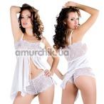 Комплект Hot Nights White: пеньюар + трусики-стринги (модель ERL300003) - Фото №1