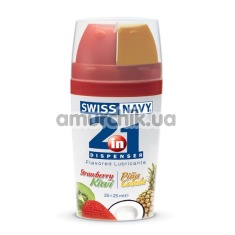 Оральный лубрикант 2 в 1 Swiss Navy 2-IN-1 Strawberry-Kiwi/Pina Colada, 50 мл - Фото №1