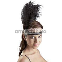 Украшение на голову с лентой и перьями Cottelli Collection Accessoires, черное - Фото №1