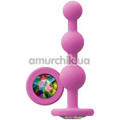 Анальная цепочка с кристаллом Glams Ripple, розовая - Фото №1