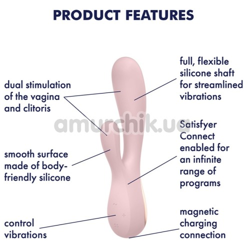Вибратор Satisfyer Mono Flex, светло-розовый