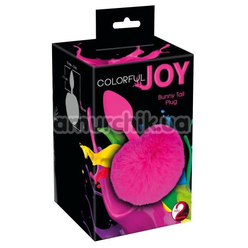 Анальная пробка с розовым хвостиком Colorful Joy Bunny Tail Plug