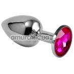 Анальная пробка с розовым кристаллом Rosebud Classic Metal Plug S, серебряная - Фото №1